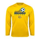 Syntrel Performance Gold Longsleeve Shirt-Soccer Ball Stacked Desgin