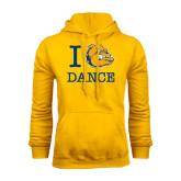 Gold Fleece Hoodie-I Love Dance Design
