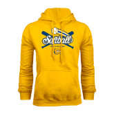 Gold Fleece Hoodie-Crossed Bats Softball Design