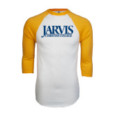 White/Gold Raglan Baseball T-Shirt-Jarvis Christian College - Institutional Mark