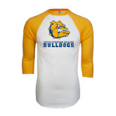 White/Gold Raglan Baseball T-Shirt-Jarvis Chrsitian College Bulldogs w/ Major Stacked - Distressed