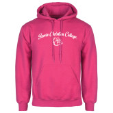 Fuchsia Fleece Hoodie-Arched Jarvis Christian College - Script