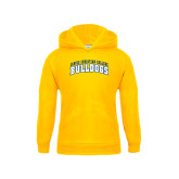 Youth Gold Fleece Hoodie-Arched Jarvis Christian College Bulldogs