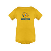 Gold Infant Onesie-Jarvis Chrsitian College Bulldogs w/ Major Stacked