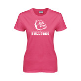 Ladies Fuchsia T Shirt-Jarvis Chrsitian College Bulldogs w/ Major Stacked