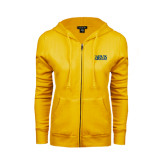 ENZA Ladies Gold Fleece Full Zip Hoodie-Jarvis Christian College - Institutional Mark