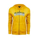 ENZA Ladies Gold Fleece Full Zip Hoodie-Arched Jarvis Christian College Bulldogs