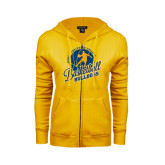 ENZA Ladies Gold Fleece Full Zip Hoodie-Basketball w/ Player in Ball Design