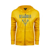 ENZA Ladies Gold Fleece Full Zip Hoodie-Basketball in Ball Design