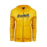 ENZA Ladies Gold Fleece Full Zip Hoodie-Baseball Bat Design
