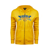 ENZA Ladies Gold Fleece Full Zip Hoodie-Crossed Bats Baseball Design