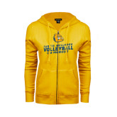 ENZA Ladies Gold Fleece Full Zip Hoodie-Can You Dig It - Volleyball Design