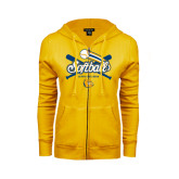 ENZA Ladies Gold Fleece Full Zip Hoodie-Crossed Bats Softball Design