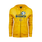 ENZA Ladies Gold Fleece Full Zip Hoodie-Soccer Ball Stacked Desgin