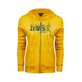 ENZA Ladies Gold Fleece Full Zip Hoodie-Track and Field Design