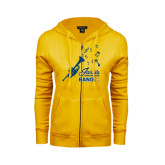 ENZA Ladies Gold Fleece Full Zip Hoodie-Band Design