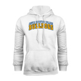 White Fleece Hoodie-Arched Jarvis Christian College Bulldogs