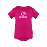 Fuchsia Infant Onesie-Jarvis Chrsitian College Bulldogs w/ Major Stacked
