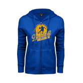 ENZA Ladies Royal Fleece Full Zip Hoodie-Basketball w/ Player in Ball Design