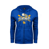 ENZA Ladies Royal Fleece Full Zip Hoodie-Crossed Bats Softball Design
