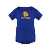 Royal Infant Onesie-Jarvis Chrsitian College Bulldogs w/ Major Stacked