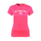 Ladies Performance Hot Pink Tee-Arched Jarvis Christian College - Script