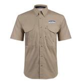 Khaki Short Sleeve Performance Fishing Shirt-Arched Jarvis Christian College Bulldogs