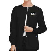 Ladies Black Snap Front Warm Up Scrub Jacket-Jarvis Christian College - Institutional Mark