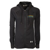 Ladies Under Armour Black Varsity Full Zip Hoodie-Arched Jarvis Christian College Bulldogs