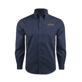Red House Deep Blue Herringbone Long Sleeve Shirt-Arched Jarvis Christian College Bulldogs