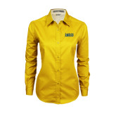 Ladies Gold Twill Button Down Long Sleeve-Jarvis Christian College - Institutional Mark