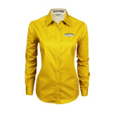 Ladies Gold Twill Button Down Long Sleeve-Arched Jarvis Christian College Bulldogs