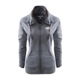 Ladies Sport Wick Stretch Full Zip Charcoal Jacket-Jarvis Christian College - Institutional Mark