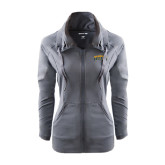 Ladies Sport Wick Stretch Full Zip Charcoal Jacket-Arched Jarvis Christian College Bulldogs