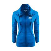 Ladies Sport Wick Stretch Full Zip Sapphire Jacket-Jarvis Christian College - Institutional Mark