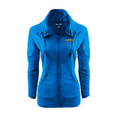 Ladies Sport Wick Stretch Full Zip Sapphire Jacket-Arched Jarvis Christian College Bulldogs
