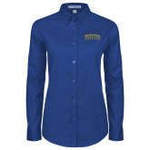 Ladies Royal Twill Button Down Long Sleeve-Arched Jarvis Christian College Bulldogs