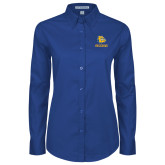 Ladies Royal Twill Button Down Long Sleeve-Jarvis Chrsitian College Bulldogs w/ Major Stacked