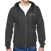 Charcoal Fleece Full Zip Hoodie-Arched Jarvis Christian College Bulldogs