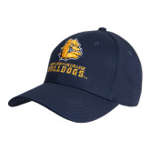 Navy Heavyweight Twill Pro Style Hat-Jarvis Chrsitian College Bulldogs w/ Major Stacked