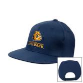 Navy Flat Bill Snapback Hat-Jarvis Chrsitian College Bulldogs w/ Major Stacked