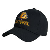 Black Heavyweight Twill Pro Style Hat-Jarvis Chrsitian College Bulldogs w/ Major Stacked