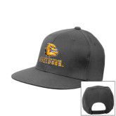 Charcoal Flat Bill Snapback Hat-Jarvis Chrsitian College Bulldogs w/ Major Stacked
