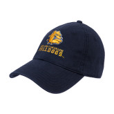 Navy Twill Unstructured Low Profile Hat-Jarvis Chrsitian College Bulldogs w/ Major Stacked