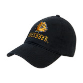 Black Twill Unstructured Low Profile Hat-Jarvis Chrsitian College Bulldogs w/ Major Stacked
