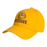 Gold Heavyweight Twill Pro Style Hat-Jarvis Chrsitian College Bulldogs w/ Major Stacked