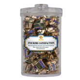 Snickers Satisfaction Large Round Canister-Jarvis Chrsitian College Bulldogs w/ Major Stacked