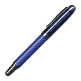 Carbon Fiber Blue Rollerball Pen-Jarivs Christian College Engraved