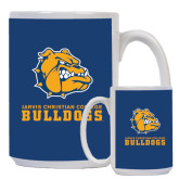 Full Color White Mug 15oz-Jarvis Chrsitian College Bulldogs w/ Major Stacked