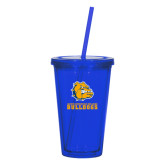 Madison Double Wall Blue Tumbler w/Straw 16oz-Jarvis Chrsitian College Bulldogs w/ Major Stacked